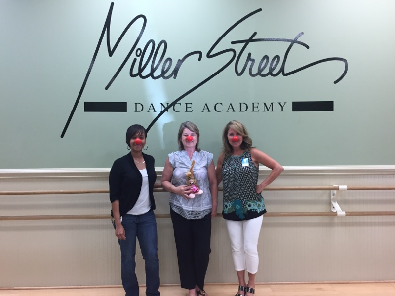 Red Nose Day - Ketura, Gina Smith, Debbie with Miller St logo, dance bunny